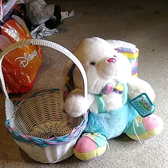 Easter basket and plush rabbit NWT